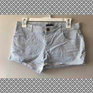 Blue and White Pinstripe Shorts